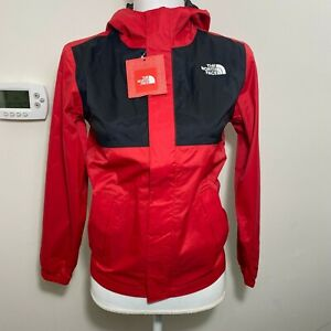 The North Face Boys James Shell 2 Hooded Rain Jacket TNF Black Red S M L