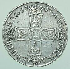 More details for scarce 1703 anne vigo crown, british silver coin vf
