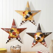 Primitive Rooster Country Farm Barn Stars Metal Wall Art Hangings Home Decor
