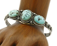 Old Pawn Navajo Large Natural Turquoise .925 Silver Cuff Bracelet