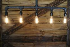 Rustic Pipe Light Art  Industrial Edison Age 5-Light  Pipe Chandelier, ..