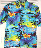 Royal Creations Hawaiian Aloha Shirt M Blue Tropical Island Palms Made in USA
