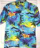 Royal Creations Hawaiian Aloha Shirt M Blue Tropical Island Palms Made in USA