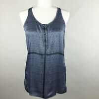 Balmain Silk Racerback Blue Diamond Print Button Front Blouse Top XS, $385