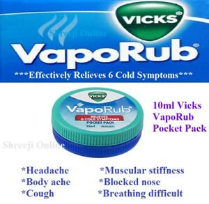 Vicks VapoRub Vapour Rub Congestion Cold Headache Relief Menthol Eucalyptus 10ml