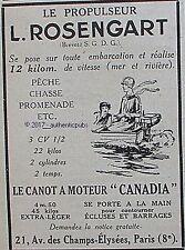 PUBLICITE ROSENGART PROPULSEUR CANOT A MOTEUR CANADIA DE 1927 FRENCH AD PUB RARE