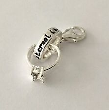 LOVELY SILVER WEDDING RING SET- 3D -CLIP ON CHARM FOR BRACELET -SILVER PLATE