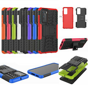 For Huawei P40, 3D 2in1 Dual-Layer Shockproof Rugged Hybrid Armor Case + Glass