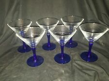 "Luminarc Set 6 Cobalt Blue Stem Martini Glasses 5"" Tall 3.75"" Top 2.75"" B USED"