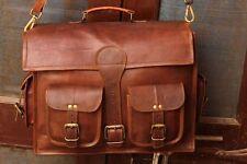 Men's Briefcase Genuine Vintage Brown Leather Messenger Bag Shoulder Laptop Bag