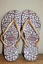 Women's havaianas slim gold brown flip flops Sz 6