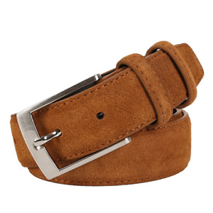 Men's Classic Metal Buckle Genuine Leather Needlepoint Luxury fashion Suede Belt