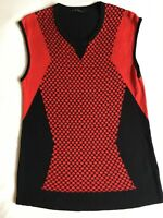 Cue Size 10 Small Red Black Patterned Knit top / Sweater. Round neck, sleeveless