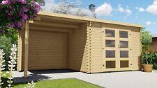 Gartenhaus Flachdach 28mm Gerätehaus Holz Anbau 3x2.4+2.4M Harz 28236 Ohne Boden