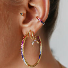 4-in-1 Colorful Crystal Cuff Ear Clips 18K Yellow Gold Filled  Earrings Elegant
