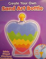 Sand Art Bottle Create Your Own Colourful 5 Bags of Sand Heart Shape Kids Play