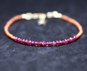 Goldstone Natural Rhodolite Garnet Bracelet 14k Gold Filled, January Birthstone
