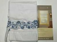 """New Home Trends 1 Valance Window Curtain (60"""" x 14"""") White w Blue Floral Carina"""