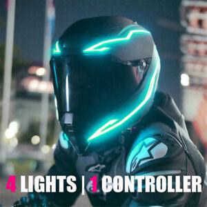 LED Light Strip Motorcycle Helmet Night Riding Signal Flashing Stripe Bar 3 Mode