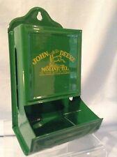 """John Deere Matchbox Holder Metal Green 6"""" x 3.25"""" x 3.25""""  2005  $13.99"""