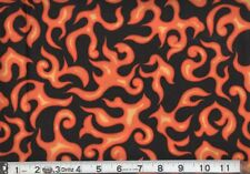 "100% Cotton Fabric BTY 45"" Harley Red Yellow Orange Black Flame Biker Motorcycle"