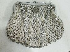 Vintage Beaded Purse Silver Long Chain Excellent Gift Formal Dress