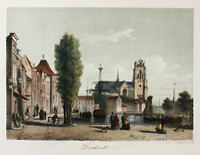 Ansicht DORDRECHT um 1860 - ORIGINAL Litho, koloriert Netherlands Nederland