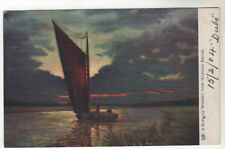 Norfolk Wherry - Nr Horning Broad Art Postcard 1904