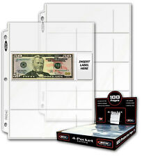 25 sheets BCW 4 Pocket Currency Pages for Binder Albums