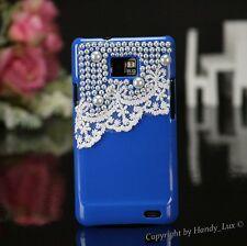 Samsung Galaxy s2 i9100, FUNDA RÍGIDA, FUNDA perlas, funda protectora, estuche, cover 3d, blanca, azul