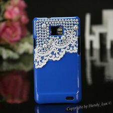 Samsung Galaxy S2 i9100 Hard Case Perlen Schutz Hülle Etui Cover 3D Weiss Blau