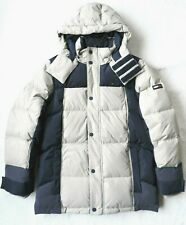 Tommy Hilfiger Mens Hooded Down Jacket, Gray/Blue