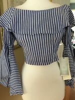 NEW TAG Iris Los Angeles blue whit stripe top off shoulder exp zip bell slv S