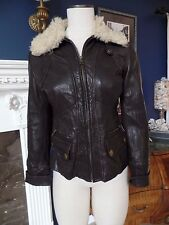 Banana Republic 100% Leather Shearing Lamb Collar Bomber Jacket Coat XS