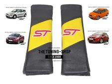 "2x Seat Belt Covers Pads Black & Yellow Leather ""ST"" Edition For Ford Focus"