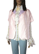 Womens Vtg Pink Shiny Evening Formal Silk Short Sleeve Jacket Blazer sz L AL70