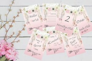 Baby Milestone Cards , Pkt of 32 Cards, Boho Girls, Baby Gift, prop, New Mum