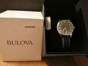 Bulova 96B276 42mm Silver Stainless Steel Case, Black Leather Band, Wristwatch