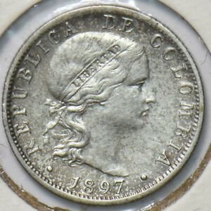 Colombia 1897 10 Centavos Eagle animal Silver, Brussles 293487 combine shipping