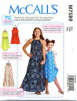 MCCALL'S SEWING PATTERN 7589 GIRLS/TEENS/TWEENS 7-16 EASY PULLOVER DRESS & MAXI