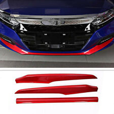 ABS Front Bumper Front Lip Cover Trim Red 3Pcs For Honda Accord 2018