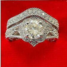 Ring Set 14k White Gold Halo 1.25 Ct Moissanite & Diamond Wedding Band