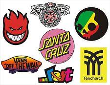 7 pegatinas Skate, Snow, Surf - Vans, Fenchurch, Lost, Independent, Santa Cruz