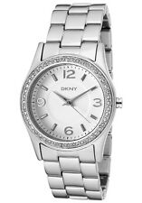 New DKNY Silver Aluminum Band Crystals Women Dress Watch 33mm NY8307 $135