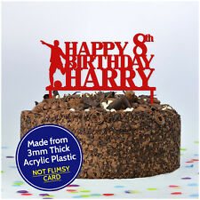 PERSONALISED Kids Birthday Cake Topper ANY NAME & AGE Football Cake Toppers Boys