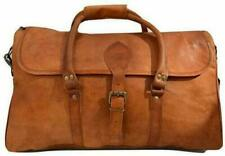 """24""""Leather Travel Bag Flap Duffle Men Vintage Holiday Luggage Overnight Weekend"""