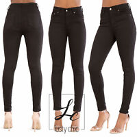 New Women Black High Waist Skinny Fit Jeans Ladies Stretchy Trousers Size 6-14