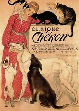 Vintage Theophile Steinlen Clinique Cheron Animal Dogs Cats Painting Reprint A4