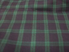 Fabric x 2, Green and Navy Plaid and Matching Green Cotton Velveteen, New