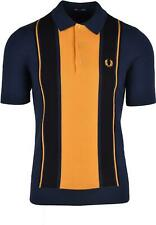 Fred Perry Striped Knitted Polo Shirt Dark Carbon